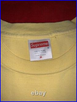 100% AUTHENTIC SUPREME OG Yellow BOX LOGO TEE T Shirt Size Medium RARE Paris