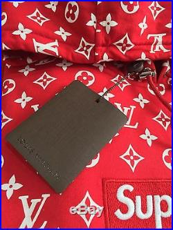 100% Authentic NEW Supreme x Louis Vuitton Monogram Box Logo Hoodie Red 1A3FBU