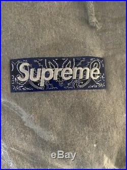 100% Authentic Supreme Bandana Box Logo Hooded Sweatshirt Grey Size Medium M