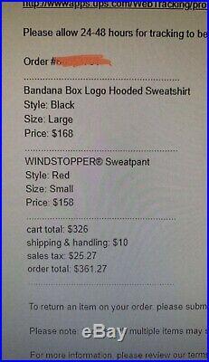 100% Authentic Supreme Bandana Box Logo Hoodie Black Size Large