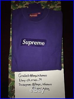 100% Authentic Supreme Purple box logo Crewneck Hoodie Size M Paris Shibuya