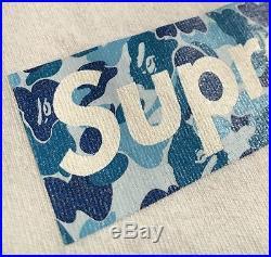 100% authentic Bape x Supreme Blue Box Logo Tee L kermit cdg paris #977