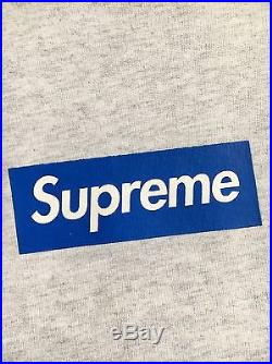 100% authentic Supreme Blue/Oatmeal Printed Box Logo Crew size L hoodie #255