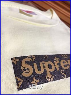 100% authentic Supreme LV Yellow Box Logo Tee L cdg tyson kermit paris #958