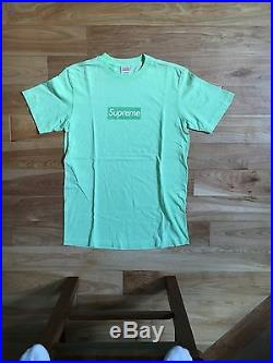 100% authentic Supreme Lime Green Box Logo Tee M tyson shibuya pcl #977