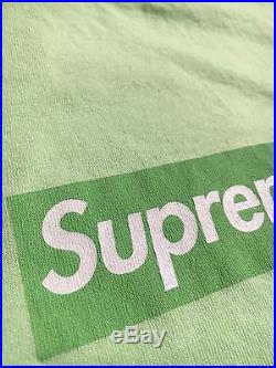 100% authentic Supreme Lime Green Box Logo Tee M tyson shibuya pcl #977