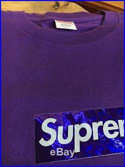 100% authentic Supreme Purple Holo Box Logo Tee size Large Harajuku Nagoya #674