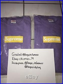 100% authentic Supreme Purple Yellow box logo T shirt Size Large shibuya Paris