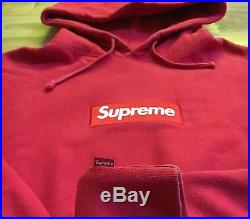 100% authentic Supreme Red Box Logo Hoodie XL white #PP