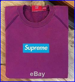 100% authentic Supreme Teal/Purple Box Logo Crewneck L pink hoodie cdg #PP