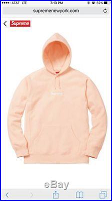 12143 Supreme Box Logo 2016 Peach Sweatshirt BOGO Hoodie NEW W RECEIPT Sz SMALL
