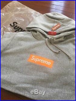 17FW Supreme Box Logo Size M Gray Hoodie