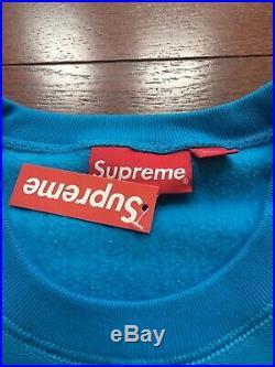 18FW Supreme Box Logo Crewneck Size Medium Blue