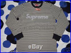 2015 F/w Supreme Cdg Pcl S-xl Striped Box Logo L/s Top Shirt E. T Worldwide Black