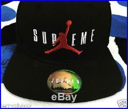 2015 F/W SUPREME JORDAN BOX LOGO 6-PANEL HAT CAMP CAP PCL BLACK SNAPBACK
