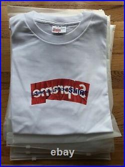 2017 Supreme x Comme Des Garcons Box Logo T Shirt White MEDIUM Authentic