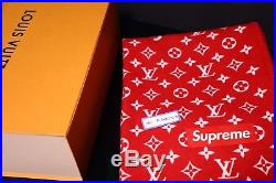 2017 Supreme x Louis Vuitton Leather Red Monogram Blanket Box Logo VERY RARE