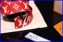 2017 Supreme x Louis Vuitton Monogram LV Red Belt Buckle Box Logo Size 90 / 36