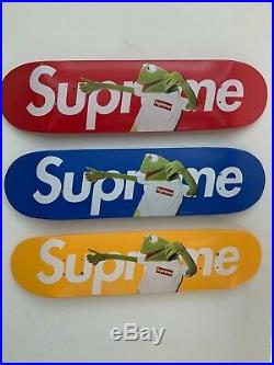 3 SUPREME KERMIT THE FROG SKATEBOARD DECK RED/BLUE/YELLOW NEW box logo bogo