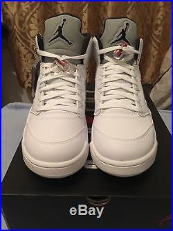 Air Jordan 5 X Supreme White Sz 11 Desert Camo Black DS TNF Box Logo