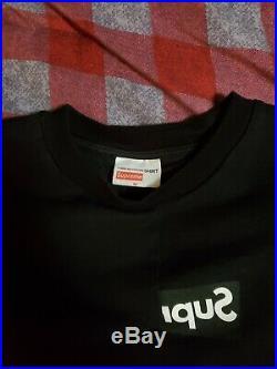 Authentic Supreme CDG Comme Des Garcons Mens Split Box Logo T Shirt S Black