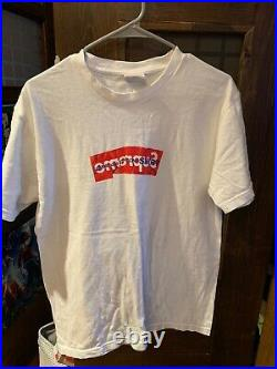 Authentic Supreme Comme Des Garcons CDG Shirt Box Logo Tee White SS17 Size L