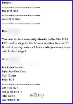 BRAND NEW SUPREME F/W 2015 BOX LOGO CREWNECK CAMO XL TNF CDG