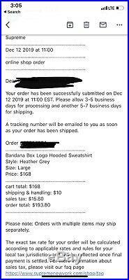 CONFIRMED Supreme FW 19 Bandana Box Logo Hoodie Large Heather Gray With Blue Bogo