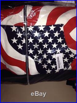 FW14 Supreme American Flag 3m Reflective Thermal Zip Hoodie Medium NWT box logo