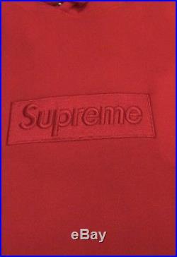 FW16 Supreme Red Tonal Box Logo Hoodie Size Small