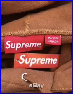 FW17 Medium Supreme Rust Brown Box Logo Hoodie LARGE