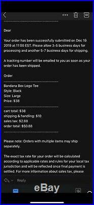 Legendary SUPREME Black Bandana Box Logo T-Shirt Size L (100% Authentic & New)