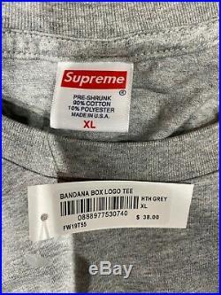 Legendary SUPREME Grey Bandana Box Logo T-Shirt Size XL (100% Authentic & New)