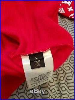 Louis Vuitton Supreme LV Red Monogram Box Logo Hoodie Size L