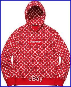 Louis Vuitton X Supreme Box Logo Hooded Sweatshir In Red