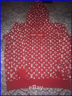 Louis Vuitton X Supreme Box Logo Monogram Red Hoodie size XL