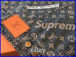 Louis Vuitton X Supreme Denim Trucker Jacket 48 M S Fw17 Box Logo Monogram LV