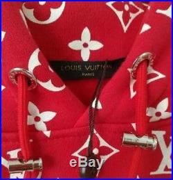 Louis Vuitton X Supreme Red Box Logo Monogram Hoodie Large 100% Authentic