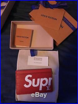 Louis Vuitton X Supreme Red Porte Carte Simple Card Holder Red Box Logo