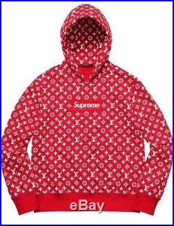 Louis Vuitton x Supreme Red Box Logo Hoodie 100% AUTHENTIC Size Medium/Large