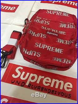 NEW DS FW16 Supreme 3M Reflective Repeat Shoulder Bag Box Logo Red Pack