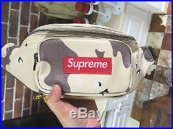NEW SUPREME Leather Waist Bag Desert Camo box logo camp cap S/S 17