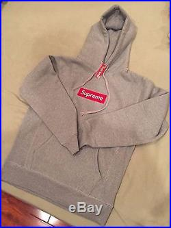 NEW Supreme Red Box Logo Pullover Sweater Hoodie Gray Large
