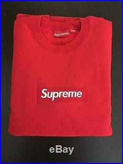 NEW Supreme Red On Red Box Logo Crewneck Size L Large F/W 2015 100% Authentic