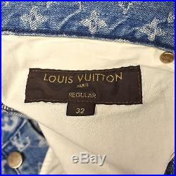 NWT Louis Vuitton Supreme Blue Box Logo LV Monogram Denim Jeans 32 Reg AUTHENTIC