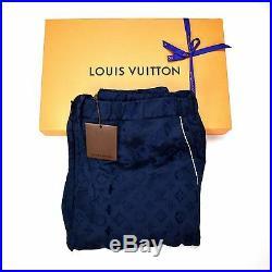 NWT Louis Vuitton Supreme Navy Monogram Box Logo Pajama Track Pants 44 AUTHENTIC