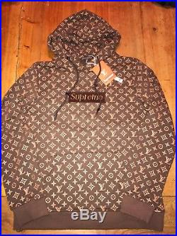 NWT Supreme Louis Vuitton Hoodie Box Logo Brown- fits like a Men's Large