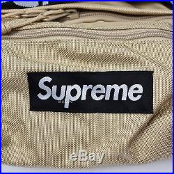 NWT Supreme NY Men's Tan Box Logo Cordura Waist Bag Fanny Pack SS18 DS AUTHENTIC