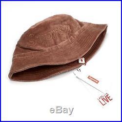 NWT Supreme x Lacoste Light Maroon Velour Crusher Box Logo Bucket Hat AUTHENTIC