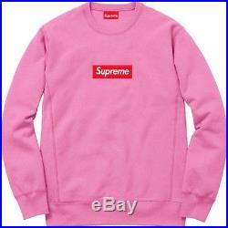 New 2015 F/W Supreme Box Logo Bogo Crewneck Sweatshirt Pink men sz M Medium
